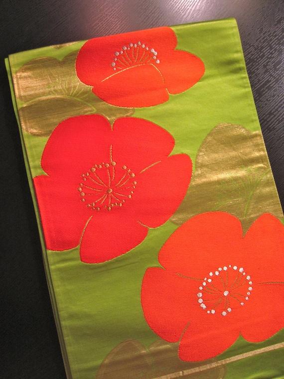 Vintage Silk Fukuro Obi - Rich Lime Green/Gold w/ Orange/Gold Flowers- Xlnt.