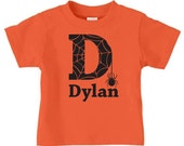 Personalized spider initial Halloween t-shirt for boys