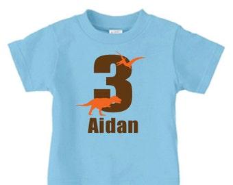 Personalized dinosaur birthday number t-shirt for kids - t rex dino, kids dinosaur birthday t shirt