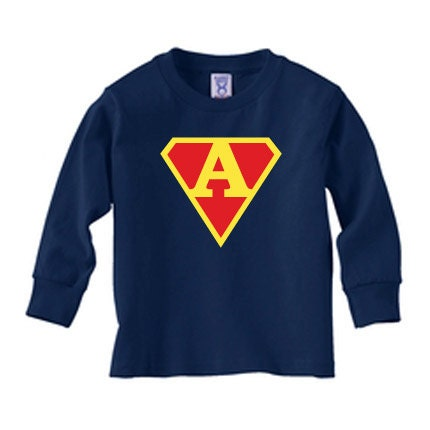 Personalized superman initial long sleeve t shirt for boys for Make your own superman shirt