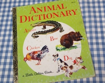 animal dictionary, vintage 1981 children's little golden book