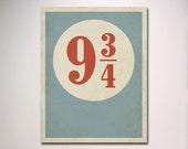 Minimalist Poster / Platform 9 3/4 with Distressed Effect Print / Wall Art / Typography
