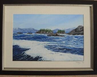 "Original 9"" x 6"" Acrylic painting - ""Island Wave"" -  unframed on canvas board"