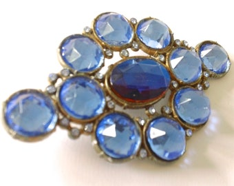 Czech Blue Rhinestone Brooch Vintage Antique Fashion Retro Mad Men Jewelry