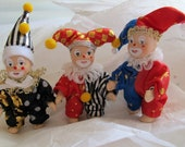 Articulated porcelain miniature jesters clowns (set of 3)