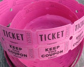 White or Hot pink 2 part tickets / girl birthday party tickets / white raffle tickets / beer tickets / admit one tickets