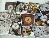 Vintage Clock faces photo cards set of 6 mini / steampunk clock photo cards / clock photo gift tags