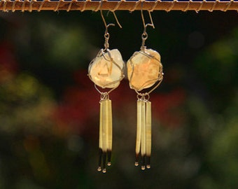 Oregon Agate with Porcupine Quill Earrings