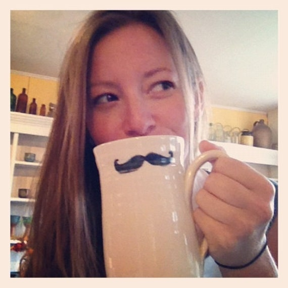 Moustache Movember Coffee Mug Hand Painted Mustache
