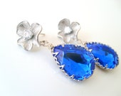 Vintage style cobalt blue 18x13 swarovski crystal teardrop earrings with 925 sterling silver post wedding jewelry bridesmaid gift