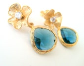 wedding jewelry,montane blue framed glass stone gold plated 925 sterling silver flower post earrings bridal jewelry bridesmaid gift