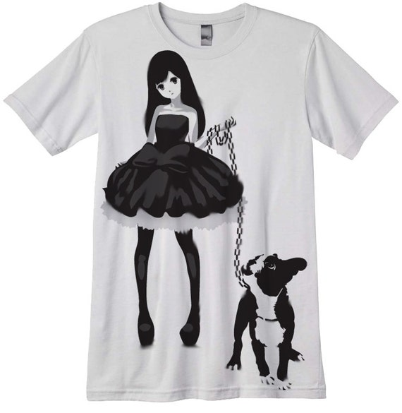 anime clothes for dogs: Anime Girl T-shirt Japanese Lolita With A Dog Hand Airbrushed