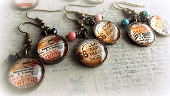 Wholesale Earrings,Vintage Ephemera Style, Set of 6
