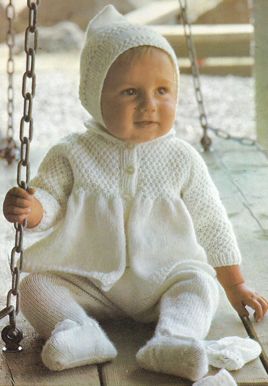 Knitting Vintage : Vintage pattern baby pram set with pixie hood knitting