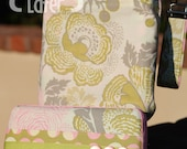 Travel Diaper Changing Set (Girl) - Wet Bag & Wipes Case - Floral - Olive, Blush and Cream