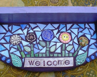 Stained Glass Mosaic Vintage Wood Shelf:  Purple Floral Welcome