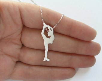 Figure Skater Necklace Pendant - Sterling Silver Ice Skating Woman - Hand Cut