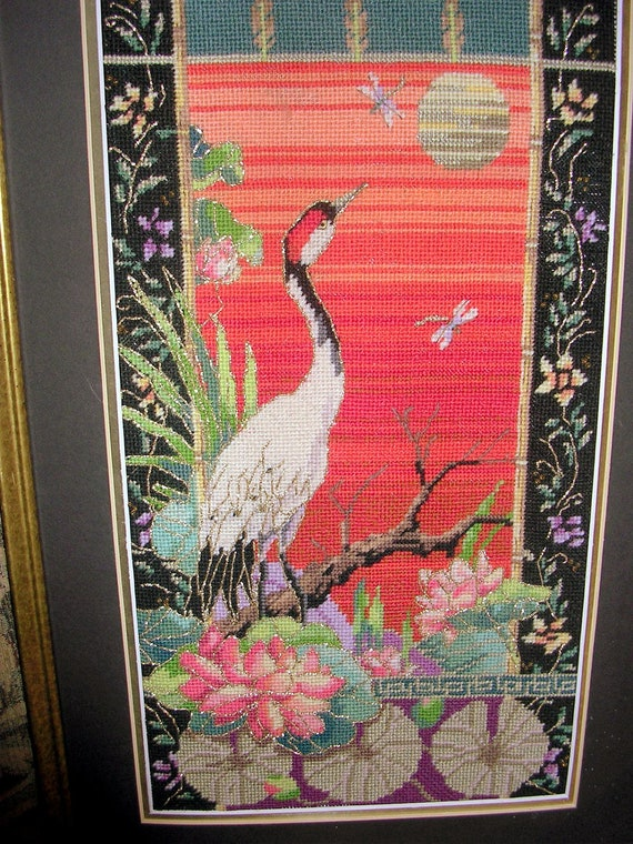 Vintage Bucilla Needlepoint Picture Crane lilly pad and fireflies Amazing colors 23inX15in Framed
