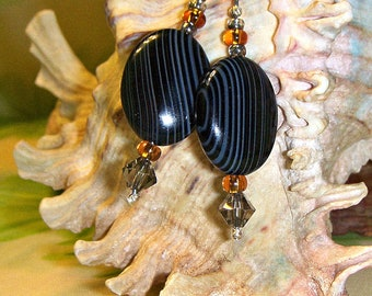 Christmasinjuly, Sale, Earrings Black Banded Agate Pierced Drop Earrings - Black Tie Affair, Classy