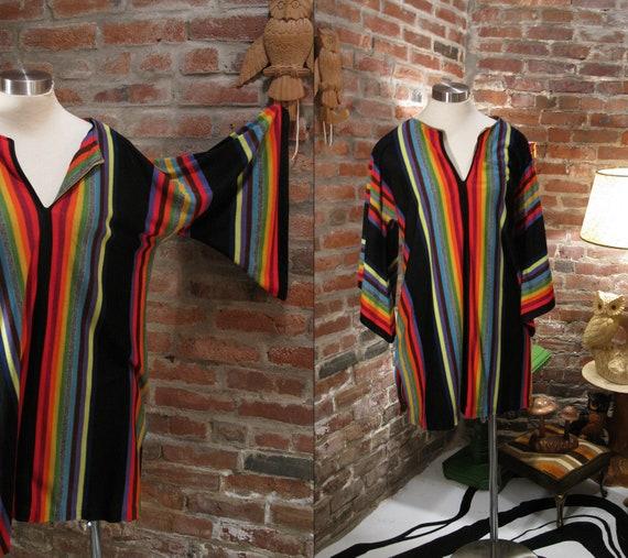 60s 70s Woodstock Rainbow Kaftan Hippie Festival Tunic Unisex