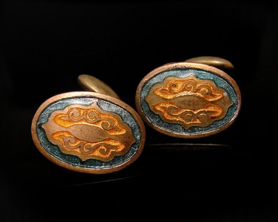 SALE Antique Cufflinks Art Nouveau Deco Edwardian Orange Turquoise Enamel Gilt Brass 1910s-20s