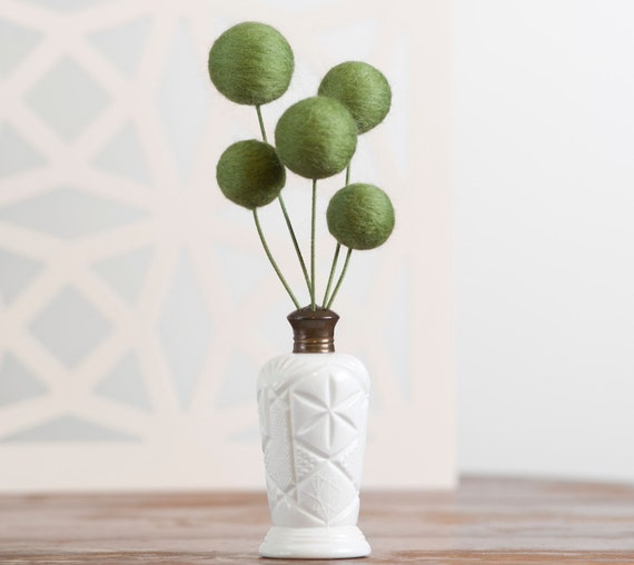Bouquet of Needle Felted Green Flowers in Vintage White Salt Shaker Vase
