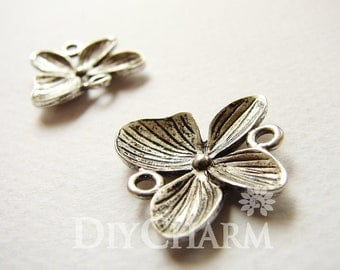 Antique Silver Butterfly Flower Charms 20x20mm - 10Pcs - FI21658