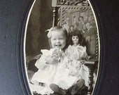 Victorian Cabinet Photograph Young Girl Holding Two Dolls plus Young Boy Lot of 2 Beloit Wisconsin circa 1890s