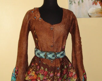 Nuno felted jacket, wonderfully beautiful flowers cardigan blazers brown turquoise