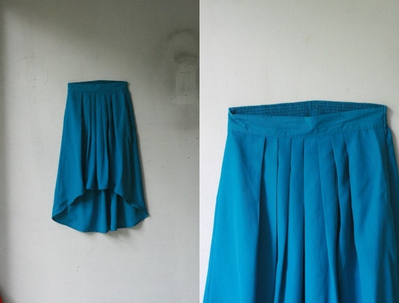 Turquoise Polyester Long High-Low Skirt / FREE SHIPPING