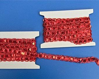 Sequin Braid Trim,  6 Yards, Red or Multi