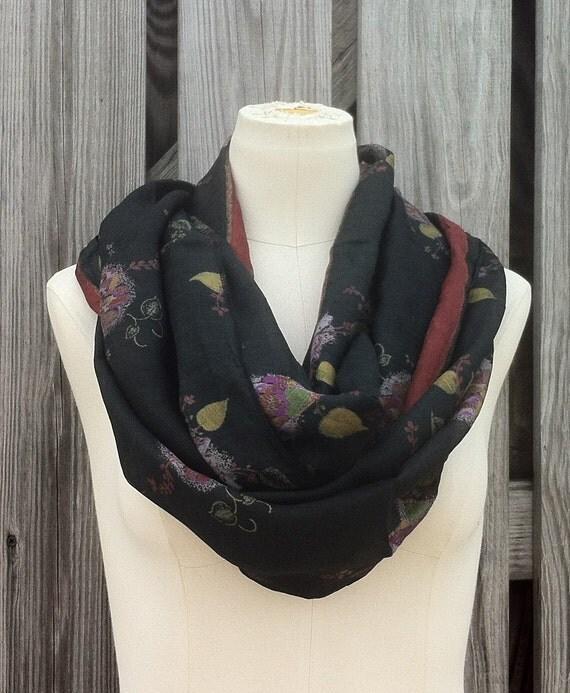 Infinity Scarf Upcycled VINTAGE Silk Sari Circle Scarf Romantic Soft Black FLORAL