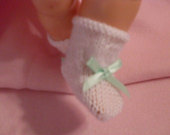 "10-12"" White Booties with Mint Green Bow"