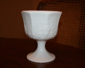 Vintage White Milk Glass Planter or Pedestal Bowl Embossed Grapes and Leaves Pattern Cottage Romantic Chic (2 available)