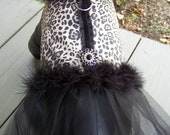Dog Harness Dress in Leopard Print with black Boa attached Size Small for toy dogs