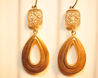 Handmade Vintage Gold and Brass Drop Earrings