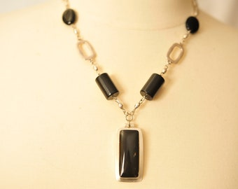 Handmade Vintage Onyx and Sterling Pendant Necklace