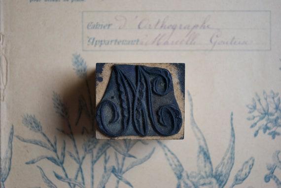 Vintage french rubber stamp for embroidery  - Monogram M