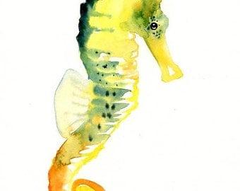 SEAHORSE-5x7 Print-Art Print-animal Watercolor Print-Giclee Print-Nursery decor-Playroom Decor-Nursery wall art