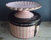 1950s Cake Stand Pink Gold Plate Server Vintage