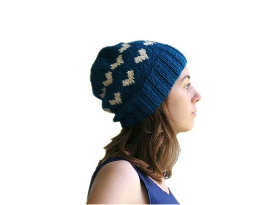 Valentine Teal Blue Hat with Ivory Hearts - Beret - Beanie - Fall Winter Fashion - Women Teens Accessories