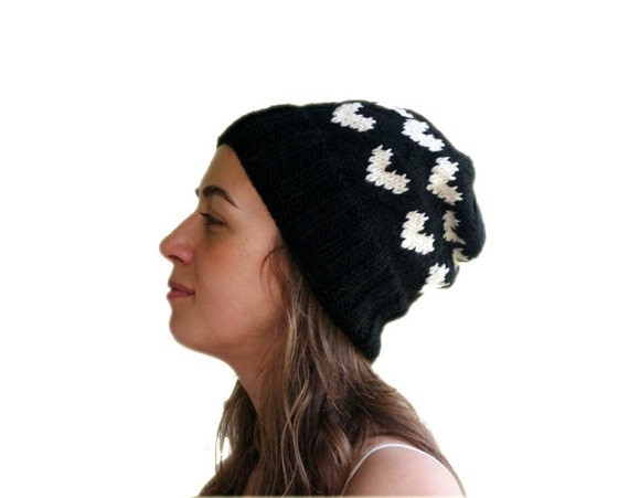 Valentine Black Knit Hat with Ivory Hearts - Fall Winter Fashion - Women and Teens Accessories - Slouchy Beret - Beanie