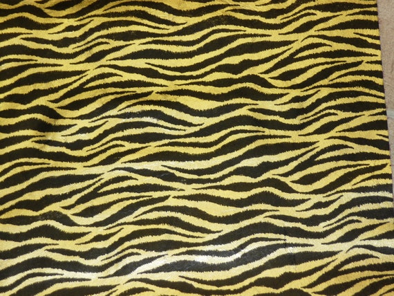 "NEW 8""x10"" Metallic Gold Tiger Stripes on Black Cowhide Leather from PeggySueAlso"