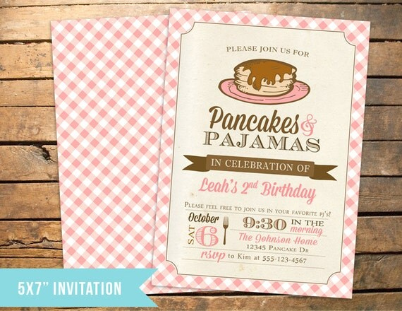 Personalized Pancake and Pajamas PJs Favor Tags – Pancake Party Invitations