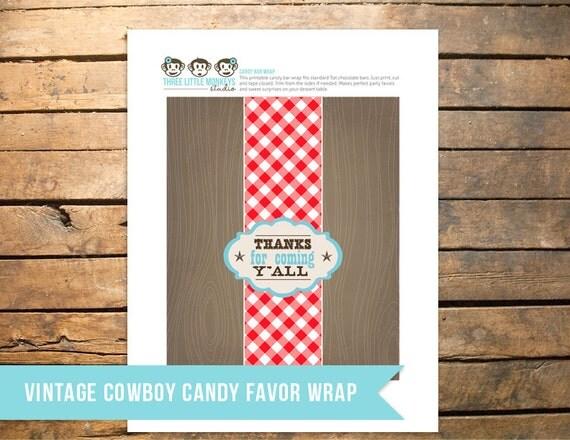 Vintage Cowboy Chocolate Bar Favor Wrapper