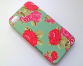 FREE Shipping Pretty Classic Floral Teal Iphone 4 4S Matte Hard Case AT&T Verizon Sprint