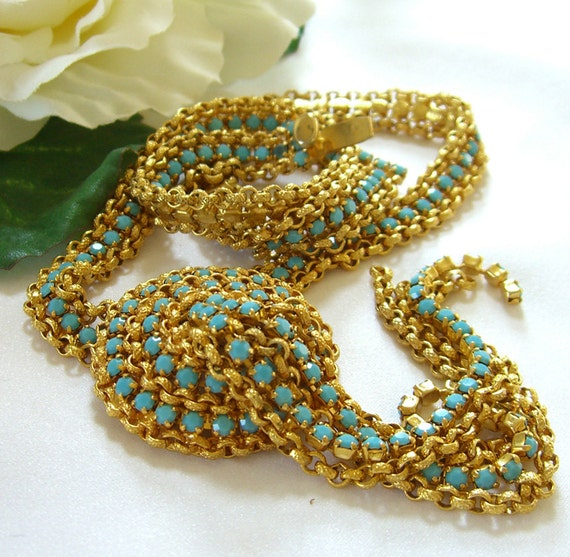Miriam Haskell Style Necklace Turquoise Rhinestones Waterfall Mesh Vintage 1940s Jewelry