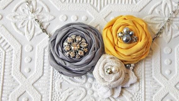 Bridesmaid Custom Order Fabric Flower Vintage Bib Necklace