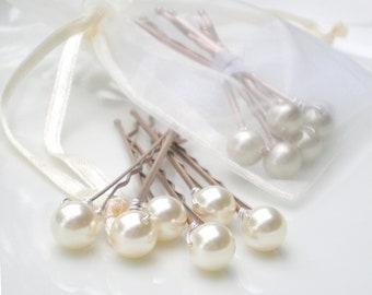 Ivory Bridal Pearl Hair Pins... Bride Maid Gift. Hair Jewelry. Chic Wedding Hair Pin Accessory