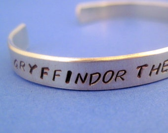 Harry Potter  Inspired Bracelet - Gryffindor House Attributes -Hand Stamped Cuff in Aluminum, Golden Brass or Sterling Silver - customizable
